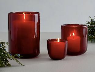 Modern Glass Votive Candle Holder - Red