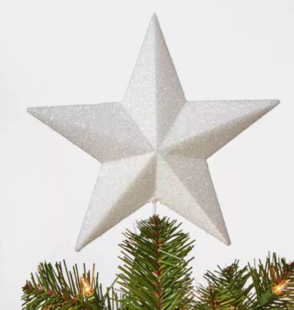 Unlit Glitter Star Tree Topper White