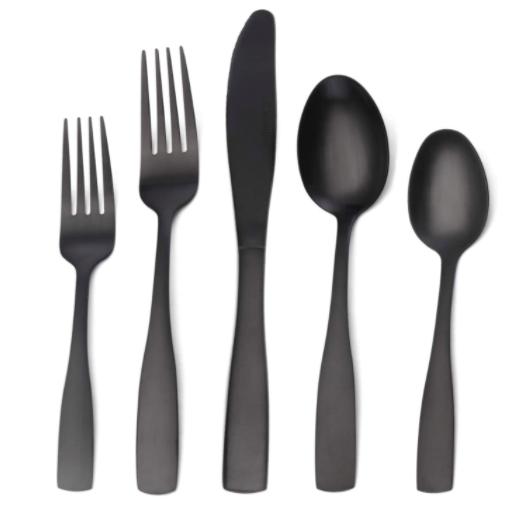 Matte Black Silverware Set