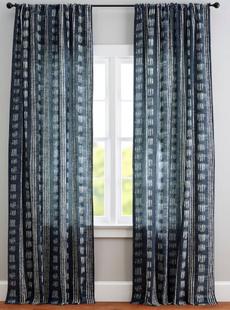 Shibori Dot Linen/Cotton Rod Pocket Curtain