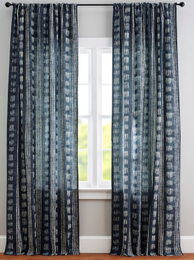 Shibori Dot Linen/Cotton Rod Pocket Curtain