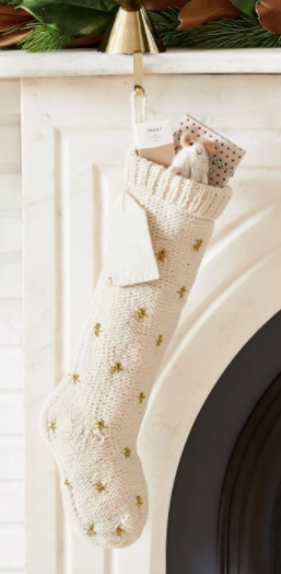 Knit Metallic Thread Starburst Stocking