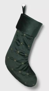 Velvet Luxe Gold Starburst Christmas Stocking Green