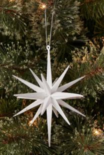 White Plastic Spike Starburst Christmas Tree Ornament