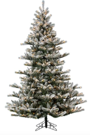 7.5' Artificial Lighted Flocked Layered Northwood Fir Tree With Clear Lights