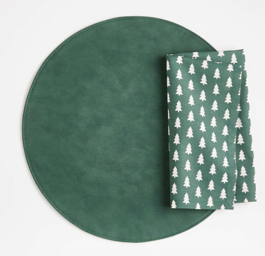 Maxwell Green Round Easy-Care Placemat