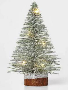 LED Brush Tree Wood Base Novelty Sculpture Light Warm White