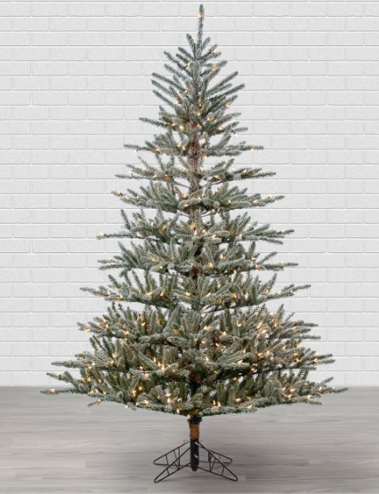 7' Artificial Lighted Flocked Scotch Pine Tree With Clear Lights