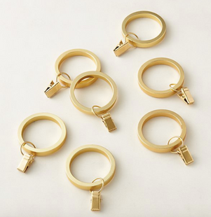 Brushed Brass Curtain Clips Set of 7