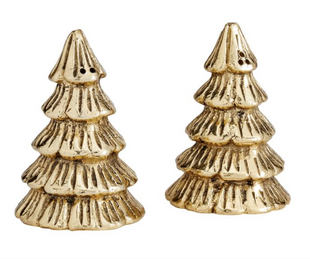 Handcrafted Gilded Metal Tree Shaped Salt & Pepper Shakers