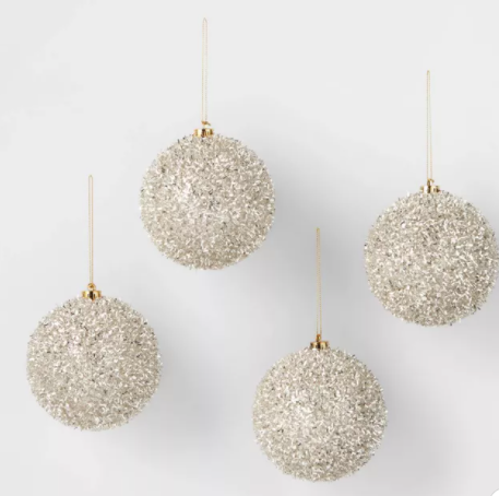 Tinsel Round Christmas Tree Ornament Champagne