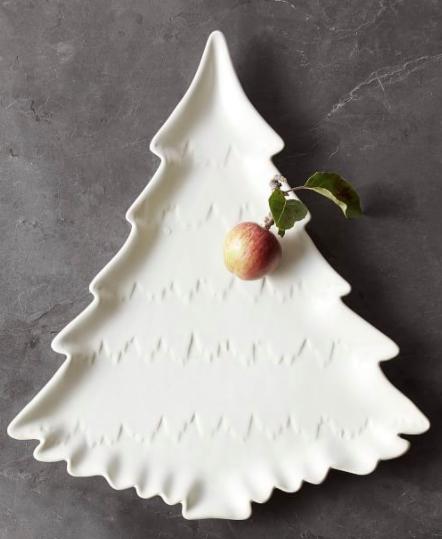 Holiday Christmas Tree Shaped Stoneware Serving Platter