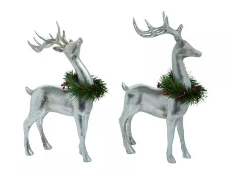 Silver Christmas Standing Reindeer Set of 2