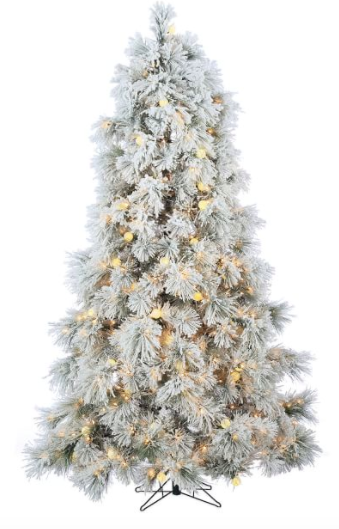 7.5ft Pre-Lit LED Flocked Arctic Pine Artificial Christmas Tree