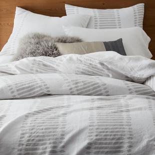Belgian Flax Linen Ikat Stripe Duvet Cover & Shams