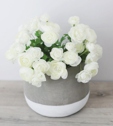 "Mini White Cream Silk Ranunculus Bush - 10"""