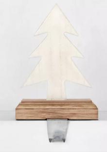 Enamel White Tree on Wood Base Christmas Stocking Holder