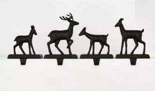 4pk Metal Deer Family Stocking Holder with Tapered Hook Black