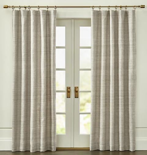 Silvana Grey Silk Curtain Panel