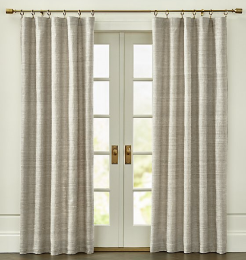 Silvana Grey Silk Curtain Panel