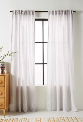 Light Grey Stitched Linen Curtain