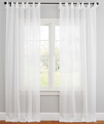 Belgian Flax Linen Tie-Top Sheer Curtain - White