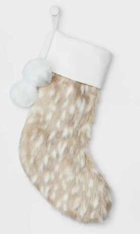 Deer Look Faux Fur Christmas Stocking with Pom Poms