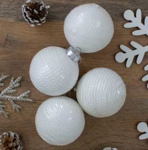 White Sequined Shiny Christmas Ball Ornaments