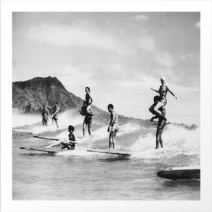 Vintage Hawaii Tandem Surfing Art Print