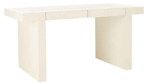Bianca Lacquered Linen Parsons Desk