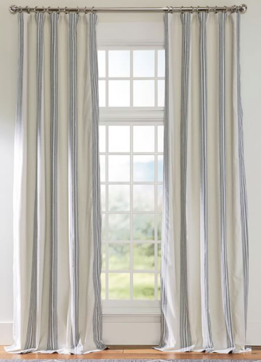 Riviera Striped Linen/Cotton Rod Pocket Blackout Curtain - Charcoa