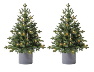 3 ft LED Pre-Lit Potted Artificial Christmas Tree with 35 Warm White Lights (2 Pack)