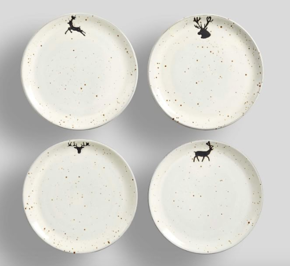 Rustic Reindeer Terra Cotta Salad Plates - Set of 4