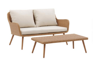 Oatmeal All Weather Simona Outdoor Loveseat & Coffee Table
