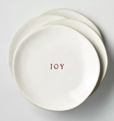 'Joy' Stoneware Appetizer Plate Set Red/Sour Cream