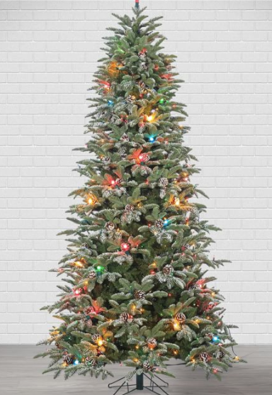 4ft/7.5ft Pre-Lit LED Flocked Smoky Mountain Pine Artificial Christmas Trees