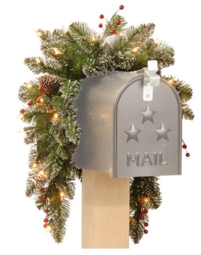 Pre-Lit LED Faux Mountain Pine Mailbox Swag