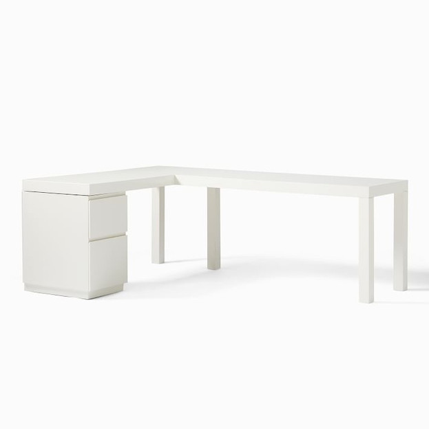 Parsons L-Shaped Desk & File Cabinet Set