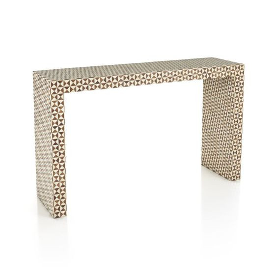 Wood Mosaic Console Table