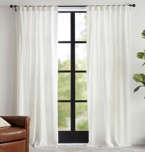 Classic Belgian Flax Linen Rod Pocket Blackout Curtain - Classic Ivory