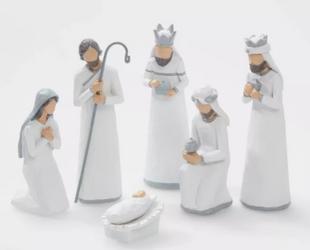 Nativity Set White Decorative Figurine Set