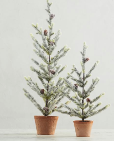 Faux Potted Frosted Trees