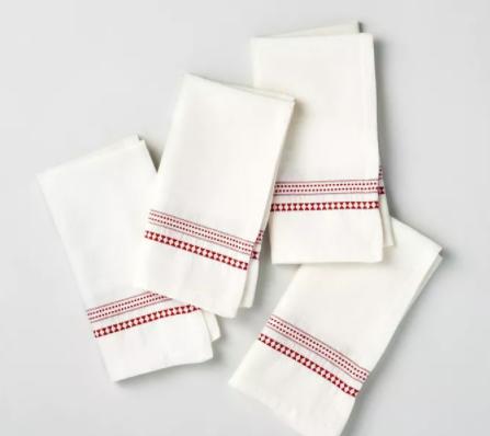 Woven Jacquard Stripes Napkin Set Red