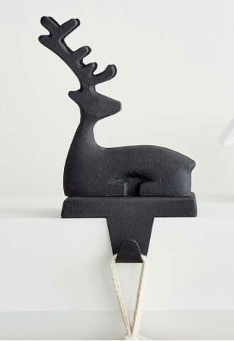 Zinc Sitting Reindeer Stocking Hook
