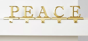 PEACE Gold Christmas Stocking Holder