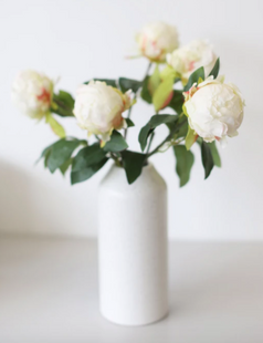 "Artificial Flower Peony Bud in Cream - 18"" Tall"