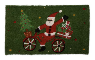 Whimsy Holiday Santa On Bike Gifts Tree Coir Doormat