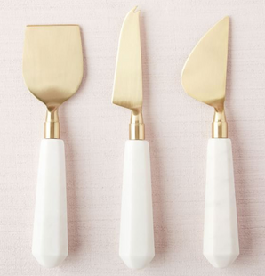 Marble and Brass Cheese Knife Set