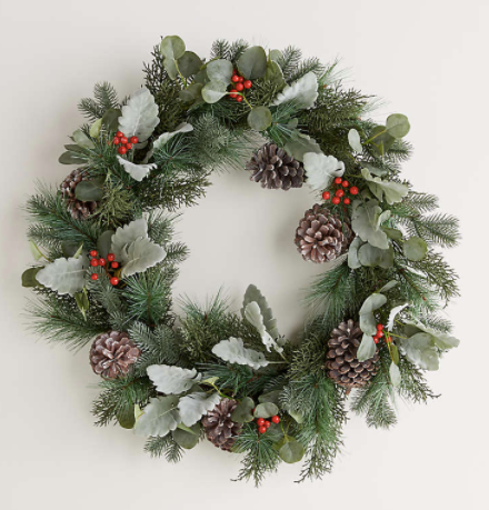 Pre-Lit Pine Cone and Berry Wreath