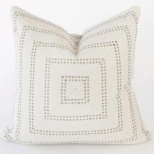 Cream Felt Striped Pillow